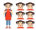 School asian girl emotions