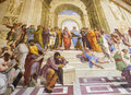 The school of athens vatican museum in stanza della segnatura room signatura Stock Photography