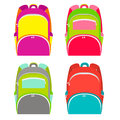 School backpacks collection isolated on white. School backpack in 4 different versions. Vector illustration.
