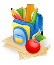 School bag and apple Royalty Free Stock Image