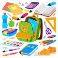 School bag backpack full of supplies children stationary zipper educational sack vector illustration. Royalty Free Stock Photo