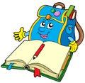 School bag reading book Royalty Free Stock Photo