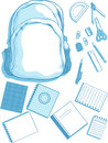 School Bag and School Supplies Stock Photo