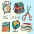 School bag and stuff. School year beginning. Education design elements.