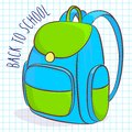 School bag vector illustration of blue and green Royalty Free Stock Image