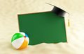 School at the beach graduation cap blank ball Stock Image