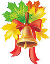 School bell with maple leaves Stock Image