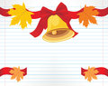 School bell with red bow and maple leaves on the notebook page illustration Royalty Free Stock Photos
