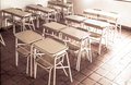 School benches empty Royalty Free Stock Photography