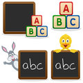 School Blackboard ABC Blocks Royalty Free Stock Photo