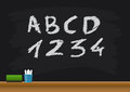 School Blackboard With Alphabets And Numbers