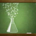 School blackboard sketche test tube on Stock Image
