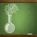 School blackboard sketche test tube on Royalty Free Stock Photo