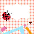 School blank banner with Ladybug and accessories Royalty Free Stock Image