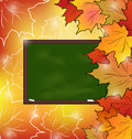 School board with maple leaves autumn background illustration Stock Images