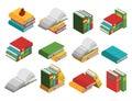 School Books Isometric Icon Set Royalty Free Stock Photo