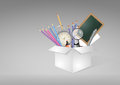 School box illustration of white with object Royalty Free Stock Photos