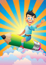 School boy cartoon character riding pencil in the clouds sky