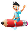 School boy cartoon character riding pencil Royalty Free Stock Photo