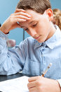School Boy Concentrates on Standardized Test Royalty Free Stock Image