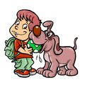 School boy and dog playing a a are cartoon illustration Stock Images