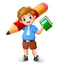 School boy holding a book with giant pencil Royalty Free Stock Photo