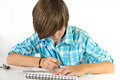 School boy with pencil and ruler, isolated on white Royalty Free Stock Photo