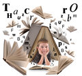 School boy reading book with letters a little is under a big on a white isolated background for an education or concept there are Stock Photography