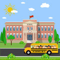 School building and bus Royalty Free Stock Photo