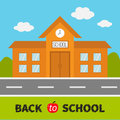 School building with clock and windows. City construction. Road, sky, cloud. Education clipart collection. Back to school. Flat de Royalty Free Stock Photo