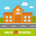 School building with clock and windows. City construction. Road, sky, cloud. Education clipart collection. Back to school text. Royalty Free Stock Photo
