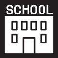School building icon, vector illustration.