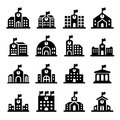Kindergarten building icon in the flat style. Preschool. Concept for city infographic.