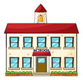 A school building illustration of on white background Royalty Free Stock Photography