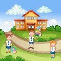 School building ilustration with happy children
