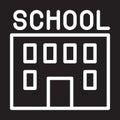 School building line icon, white outline sign, vector illustration.