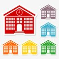 School building sticker icons set
