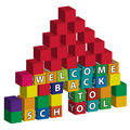 School built of toy blocks Royalty Free Stock Photo