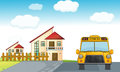 A school bus and building Royalty Free Stock Photo