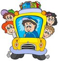 School bus with children Stock Photo