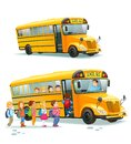 School bus. Children get on school bus.Transportation pupil or student, transport and automobile. Vector illustration. Royalty Free Stock Photo