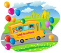 School bus with children moving in the road. flying balloons. ve Royalty Free Stock Photo