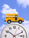 School Bus on Clock Stock Photography