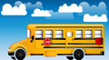 School Bus with cloudy background Royalty Free Stock Photos