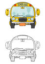 School bus coloring book with illustration on a white background which you can easily add to your design vector Stock Images