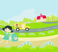 School bus heading to school with happy children illustration Stock Image