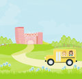 School bus heading to school with happy children illustration Royalty Free Stock Image