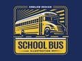 School bus illustration on light background, emblem Royalty Free Stock Photo