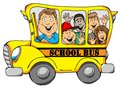 School bus with kids illustration of a Royalty Free Stock Images