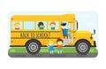 School bus kids transport vector illustration.